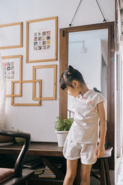 White Embroidery Tang Suit (In-Stock)