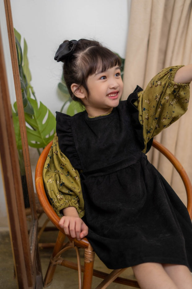 Back Buttoned Ruffled Dress in Black (In-Stock)