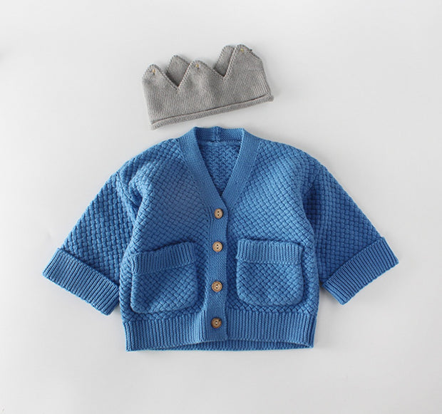 Two Pockets Knitted Cardigan in Blue