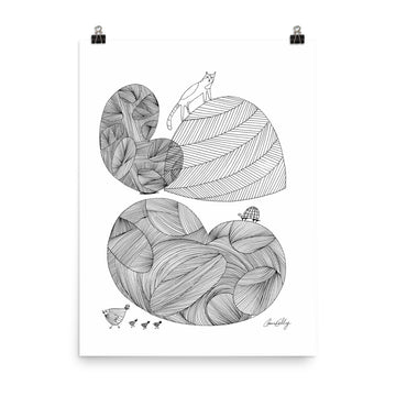 Cats, Turtle, and Chicks Print