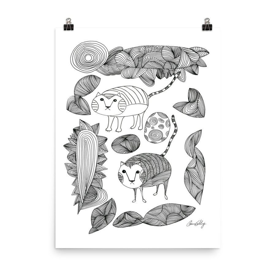 Cats and Flora Print