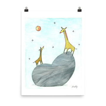 Giraffes and Night Sky Print