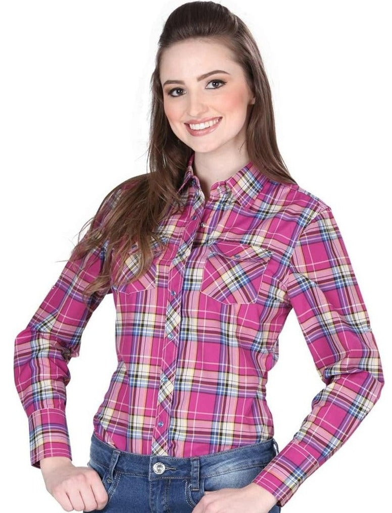 EL GENERAL Women's Pink Long Sleeve Western Shirt