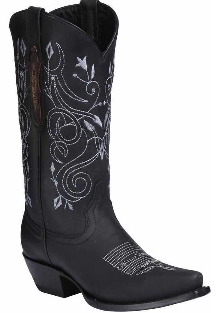EL GENERAL Women's Black Western Boots - Snip Toe