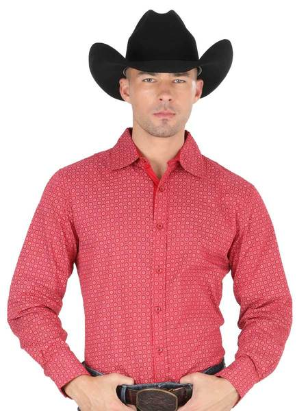 CENTENARIO Men's Red Long Sleeve Casual Shirt
