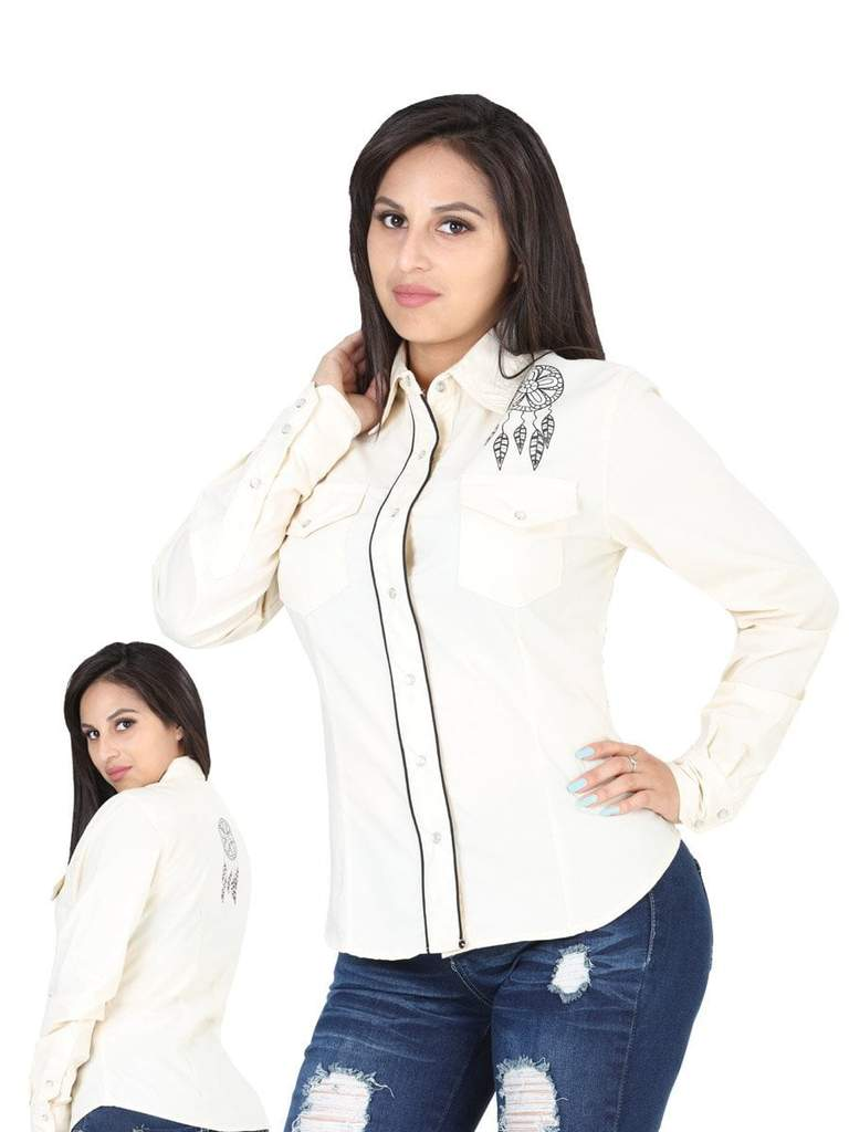 EL GENERAL Women's Beige Long Sleeve Western Shirt