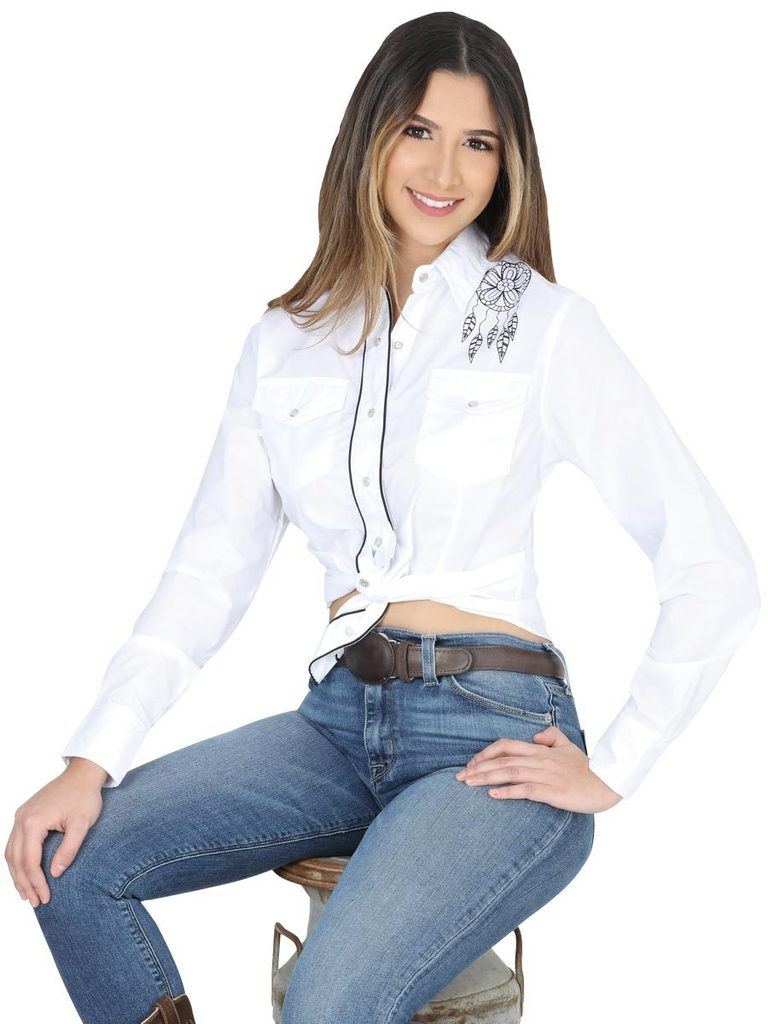 EL GENERAL Women's White Long Sleeve Western Shirt