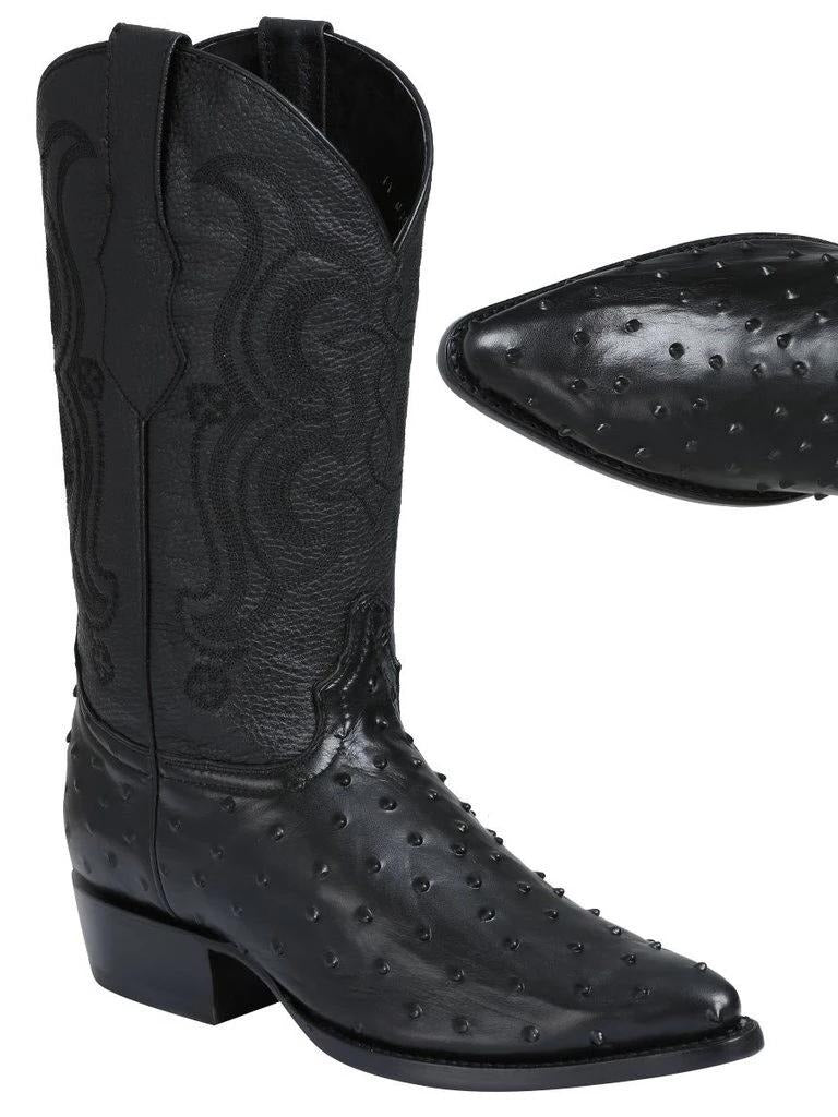 EL GENERAL Men's Black Ostrich Engraved Cowboy Boots - Pointed