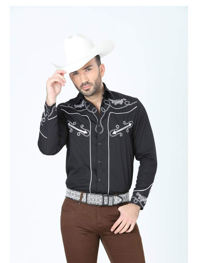 CENTENARIO Men's Black Long Sleeve Western Shirt