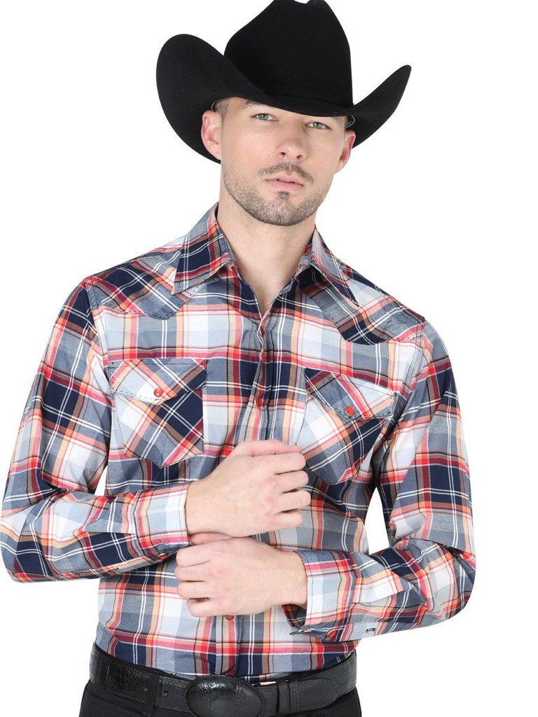 CENTENARIO Men's Navy/Red Long Sleeve Western Shirt