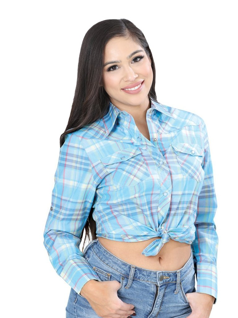 EL GENERAL Women's Blue Long Sleeve Western Shirt