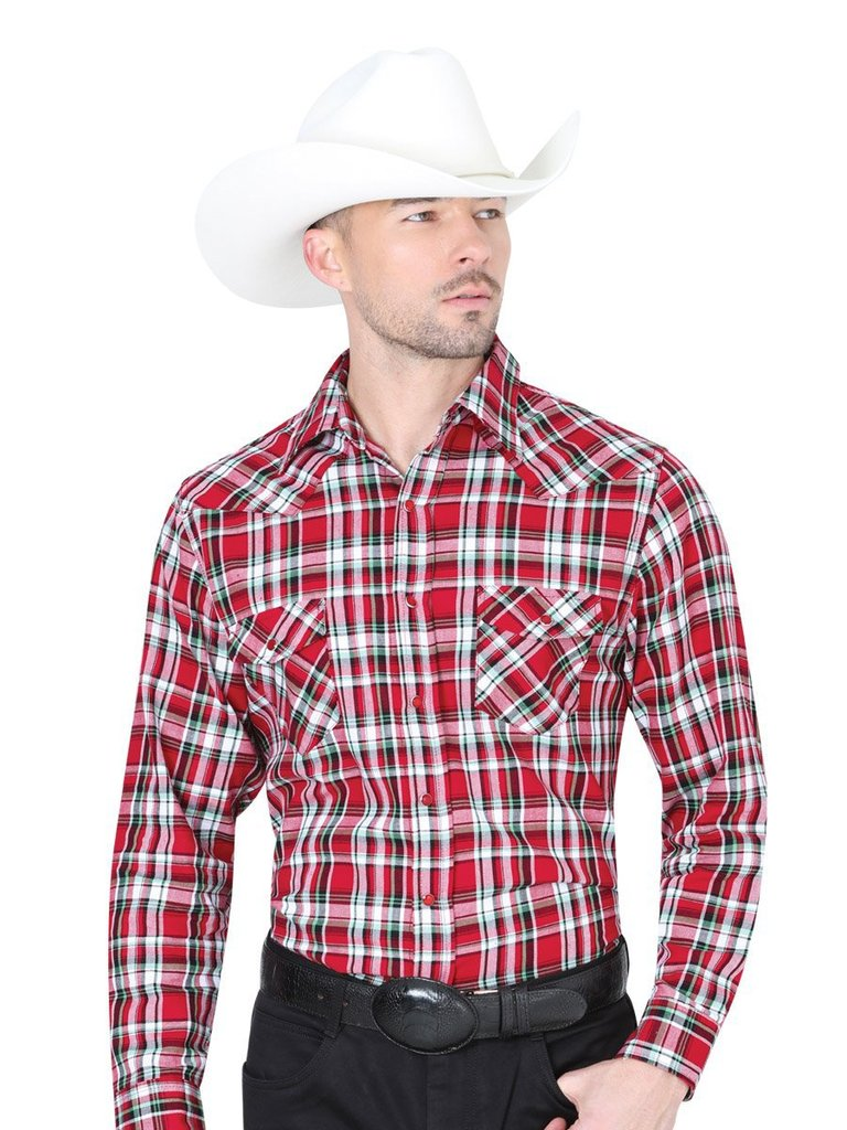 CENTENARIO Men's Red Long Sleeve Western Shirt