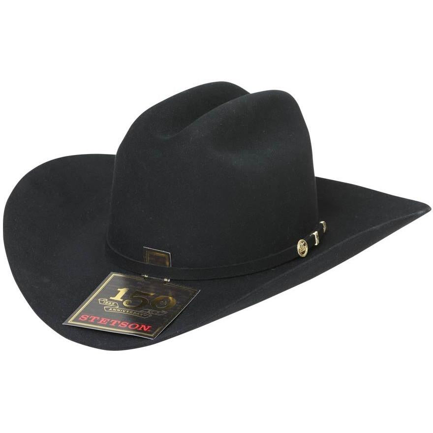 STETSON Men's Black 100X El Presidente Fur Felt Cowboy Hat
