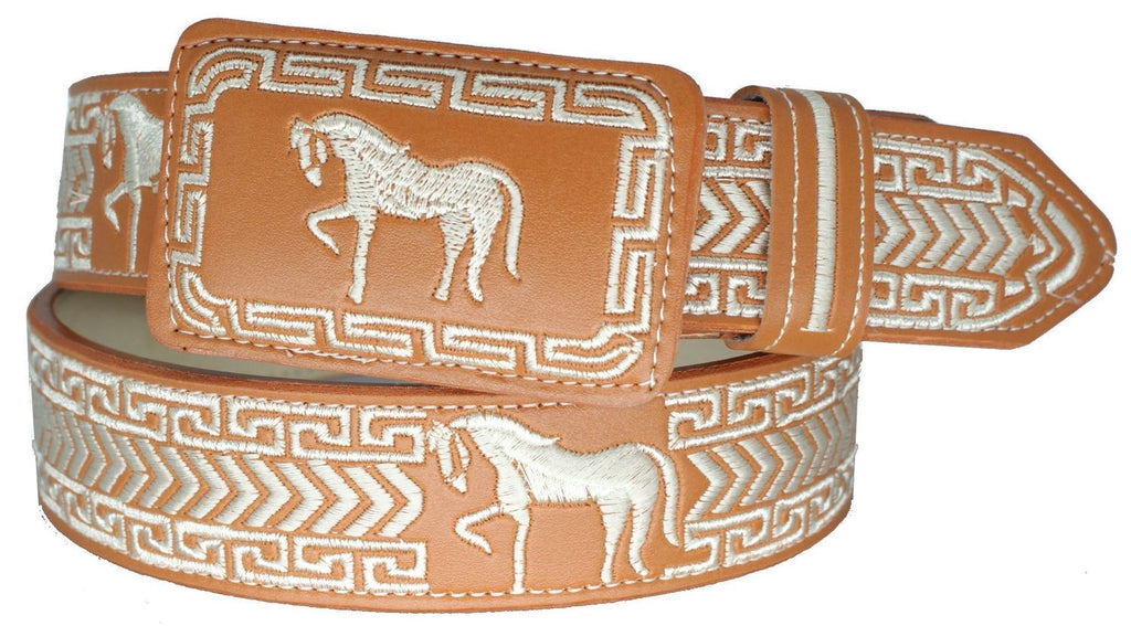 Kid's Tan Embroidered Belt
