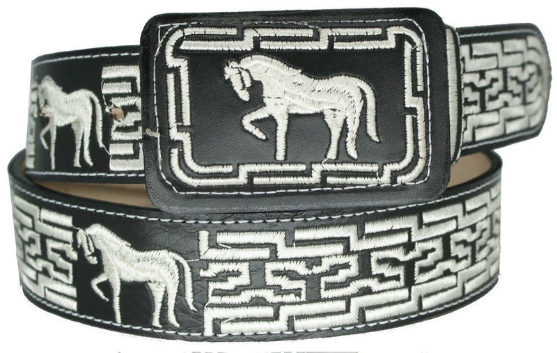 Kid's Black Ostrich Print Belt