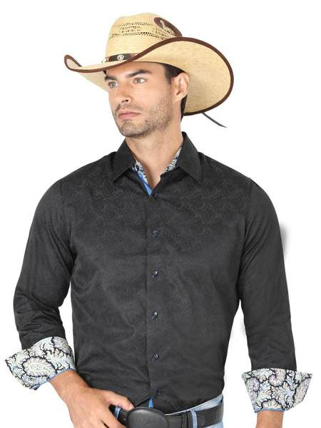 CENTENARIO Men's Black Long Sleeve Casual Shirt