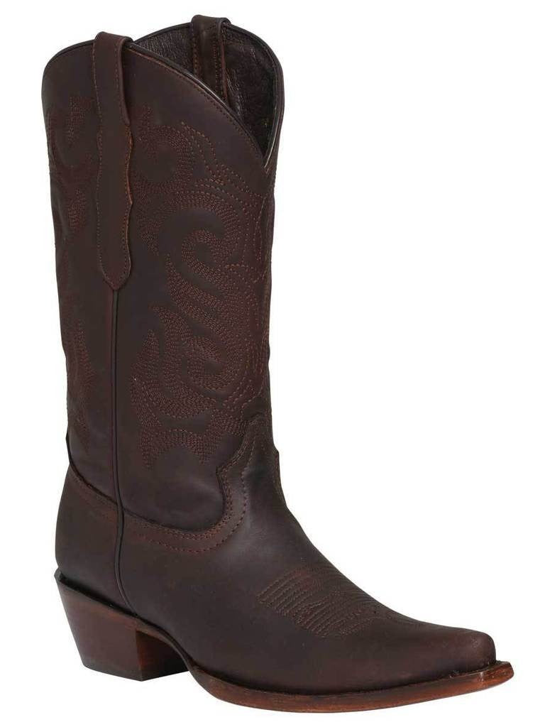 EL GENERAL Women's Brown Western Boots - Snip Toe