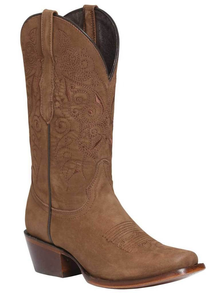 EL GENERAL Women's Camel Suede Western Boots - Square Toe