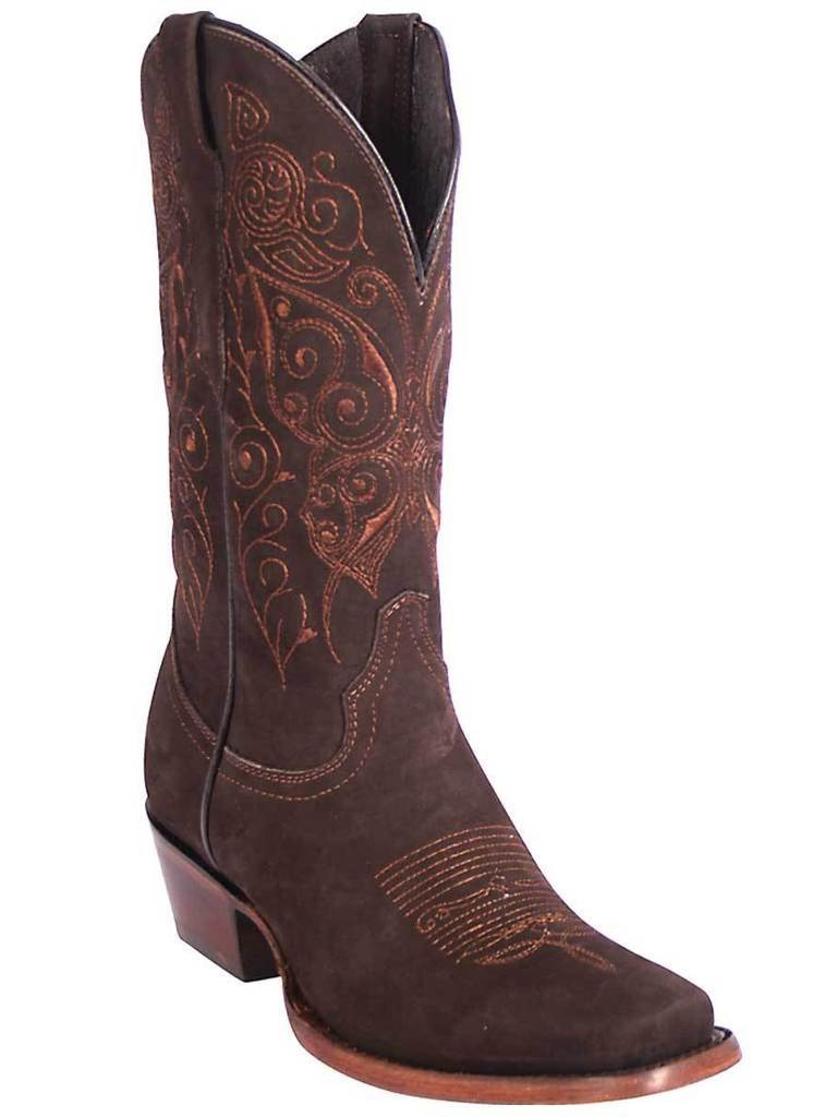 EL GENERAL Women's Brown Suede Western Boots - Square Toe