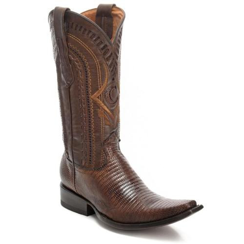 CUADRA Men's Maple Lizard Teju Exotic Boots-Square Toe
