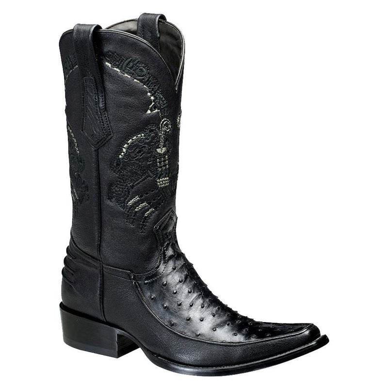 CUADRA Men's Black Full Quill Ostrich Exotic Boots - Square Toe
