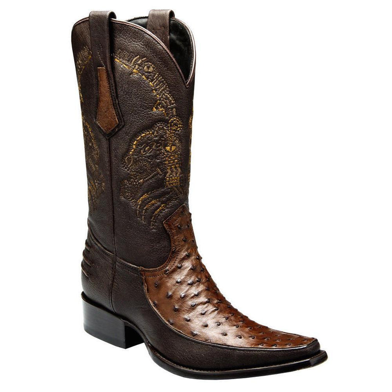 CUADRA Men's Chocolate Full Quill Ostrich Exotic Boots - Square Toe