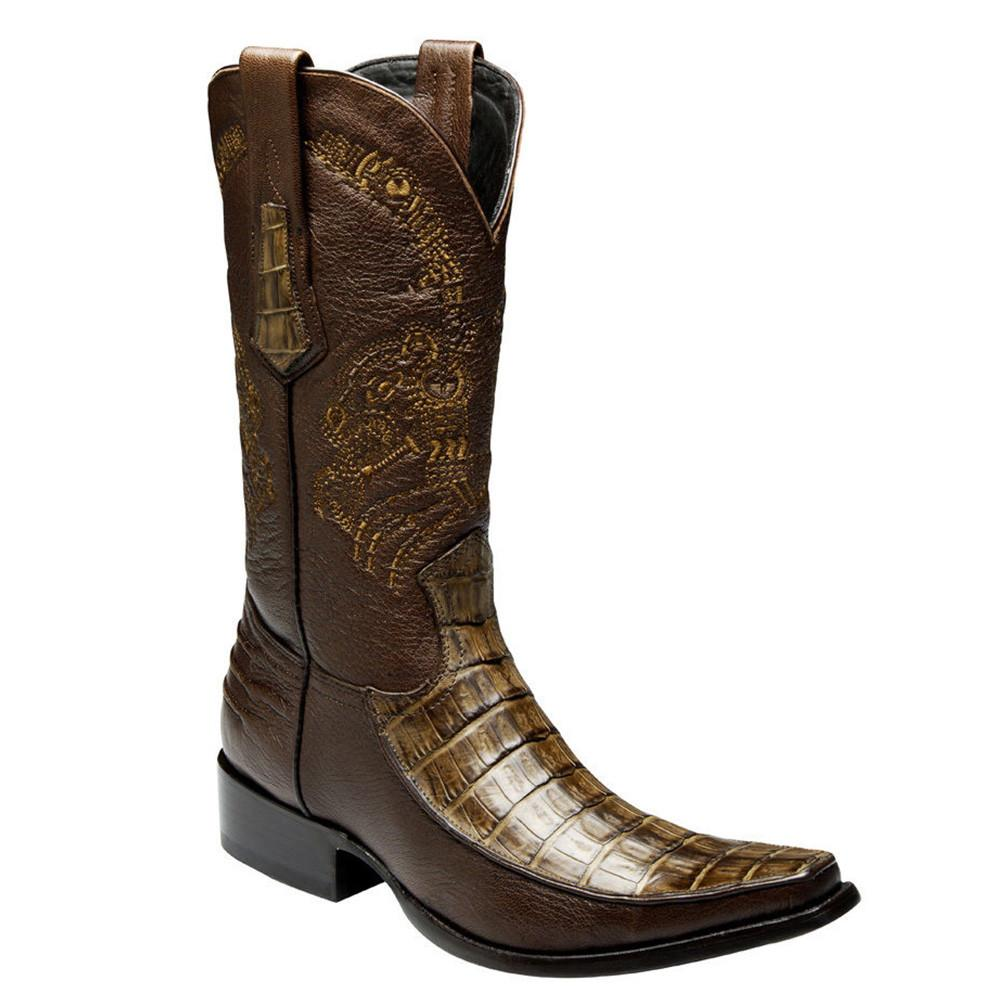 CUADRA Men's Wax Orix Caiman Belly Exotic Boots- Square Toe