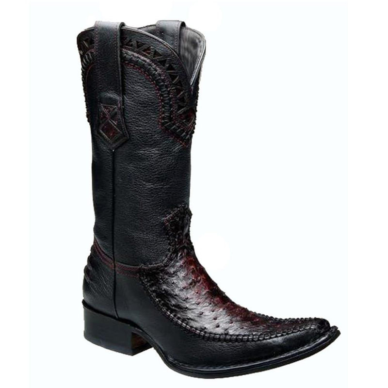 CUADRA Men's Black Cherry Full Quill Ostrich Exotic Boots - Square Toe