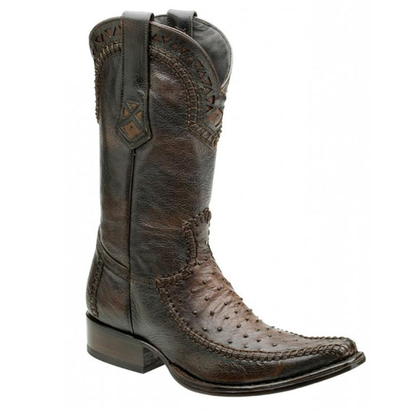 CUADRA Men's Tabaco Full Quill Ostrich Exotic Boots - Square Toe