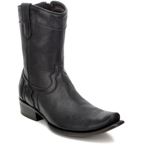 CUADRA Men's Black Shark Ankle Boots- Square Toe