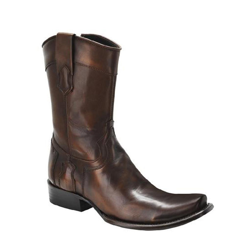 CUADRA Men's Flame Honey Full Quill Ostrich Exotic Boots - Square Toe