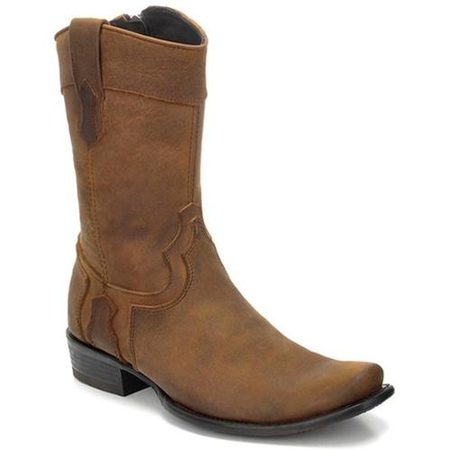 CUADRA Men's Brown Shark Exotic Boots- Square Toe