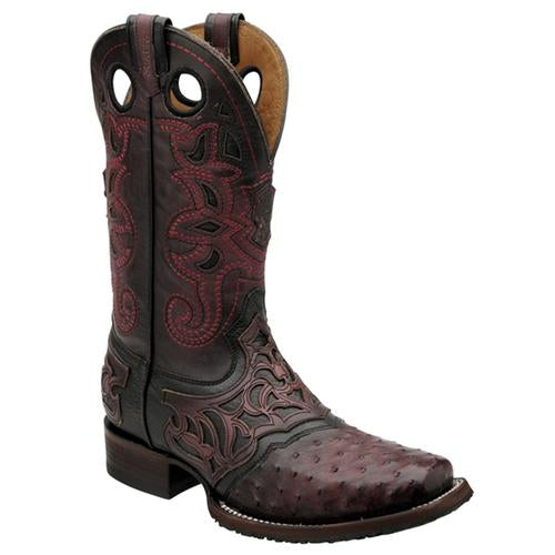 CUADRA Men's Black Cherry Full Quill Ostrich Rodeo Boots