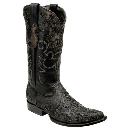 CUADRA Men's Grey Lizard Teju Exotic Boots-Snip Toe