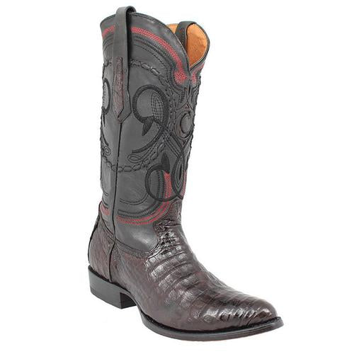 CUADRA Men's Black Cherry Caiman Exotic Boots- Round Toe