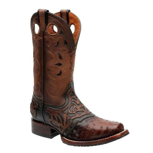 CUADRA Men's Brown Full Quill Ostrich Rodeo Boots