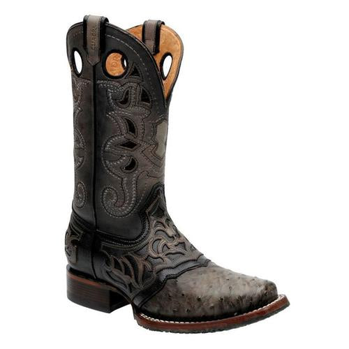 CUADRA Men's Grey Full Quill Ostrich Rodeo Boots