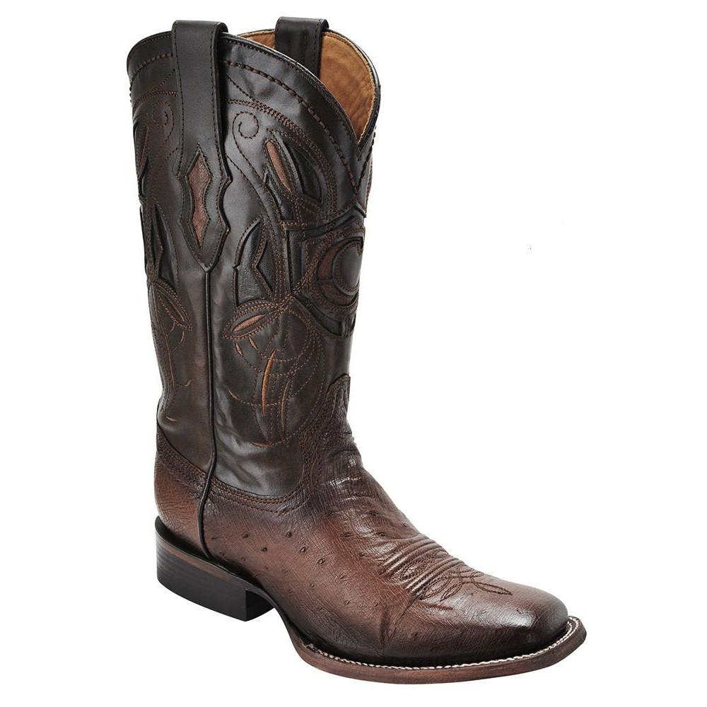 CUADRA Men's Brown Smooth Ostrich Exotic Boots - Square Toe