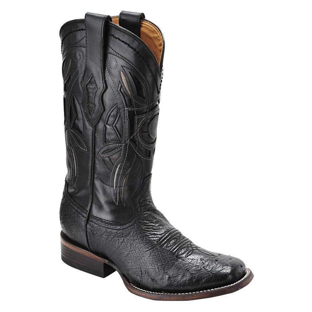 CUADRA Men's Black Smooth Ostrich Exotic Boots - Square Toe