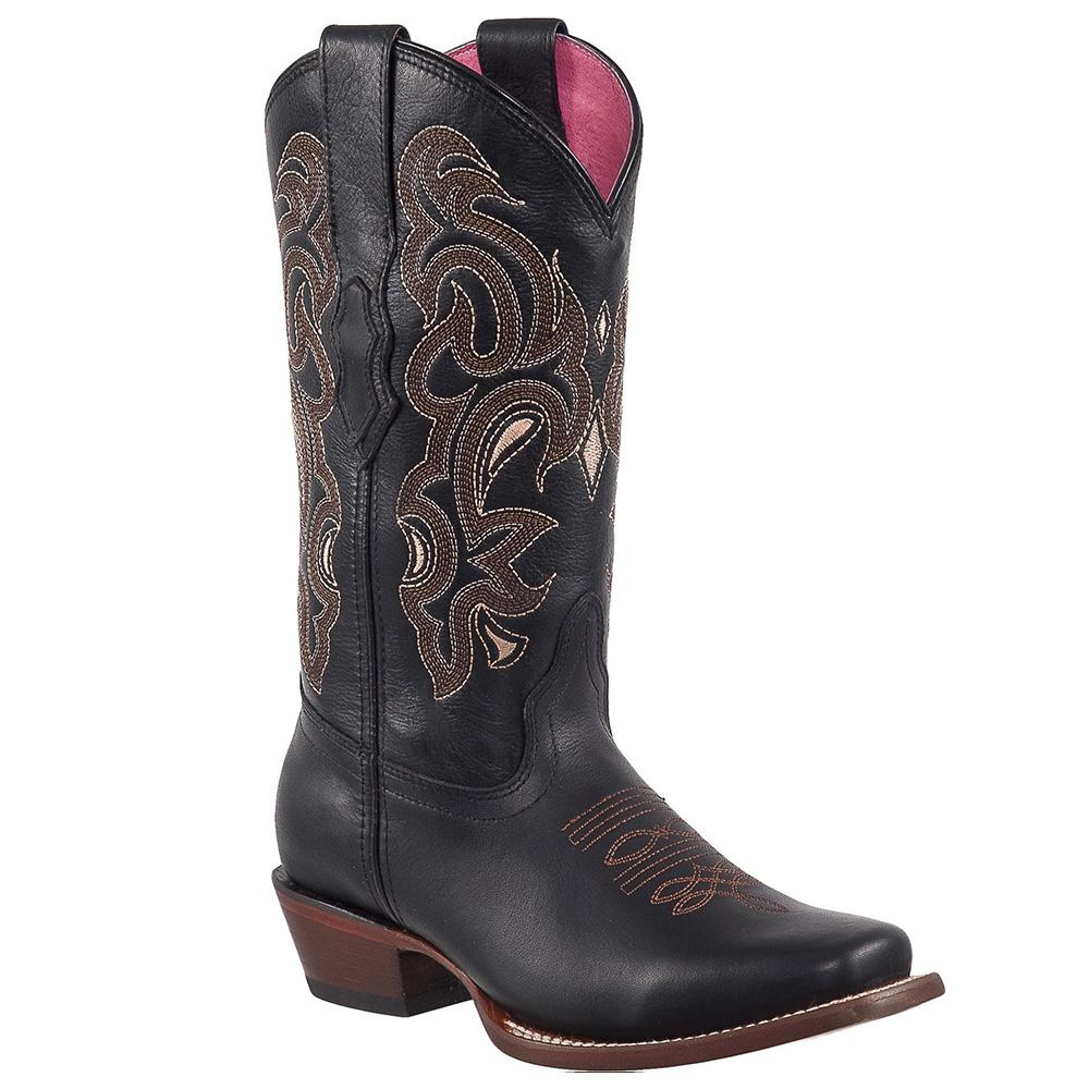 QUINCY Women's Black Western Boots - Square Toe