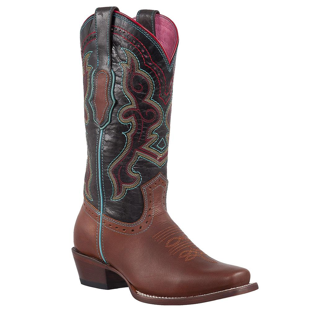 QUINCY Women's Cognac Western Boots - Square Toe