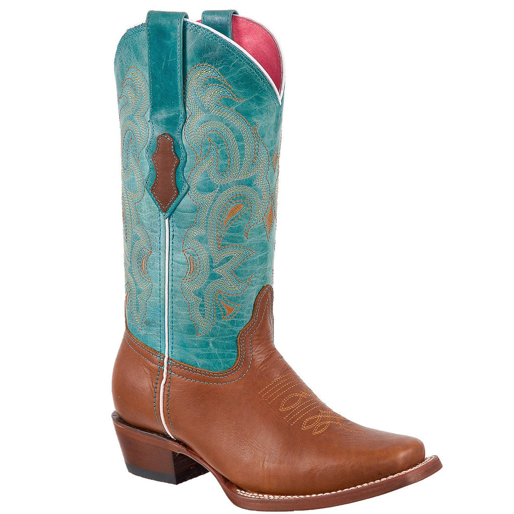QUINCY Women's Cognac/Turquoise Western Boots - Square Toe
