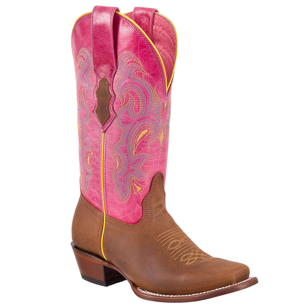QUINCY Women's Honey/Pink Western Boots - Square Toe