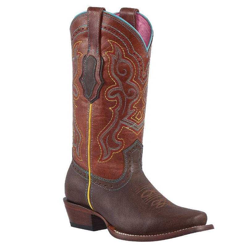 QUINCY Women's Choco/Cognac Boots - Round Toe