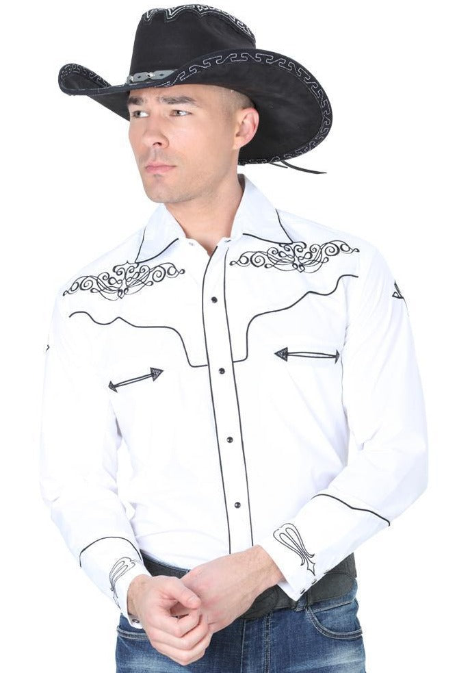 CENTENARIO Men's White Long Sleeve Western Shirt