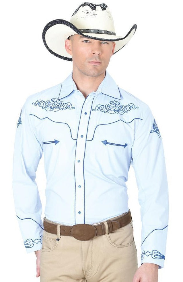 CENTENARIO Men's Blue Long Sleeve Western Shirt