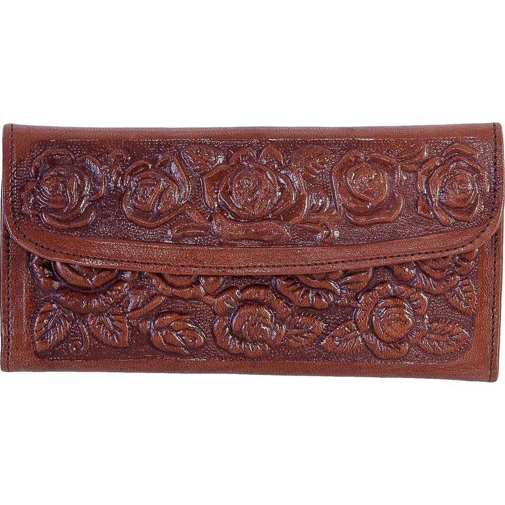 Women's Brown Engraved Leather Wallet