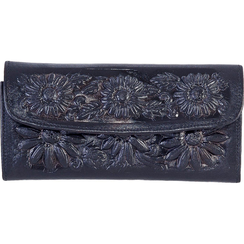Women's Black Engraved Leather Wallet