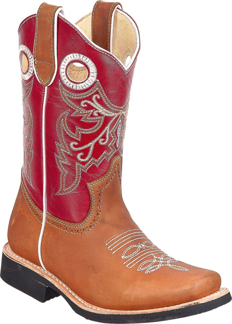 TIERRA BLANCA Youth Tan Red Rodeo Boots