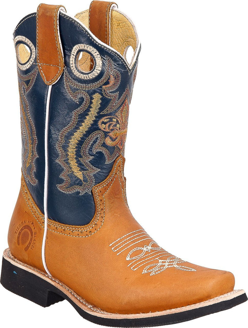 TIERRA BLANCA Youth Tan Navy Rodeo Boots
